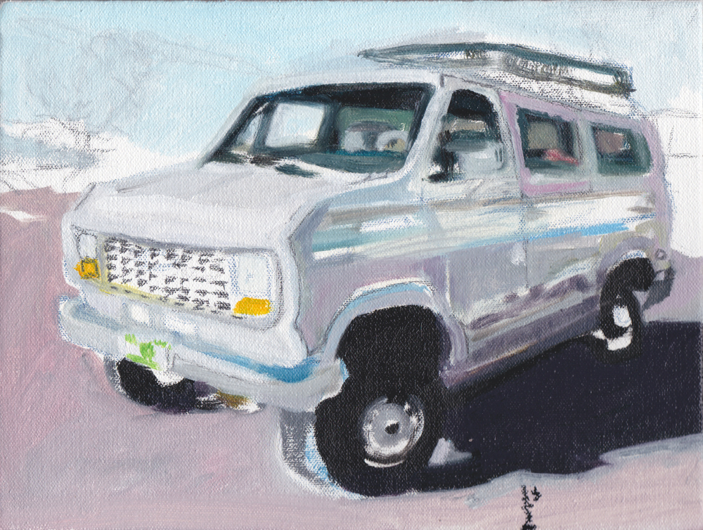Painting of grey van- realistic-ish