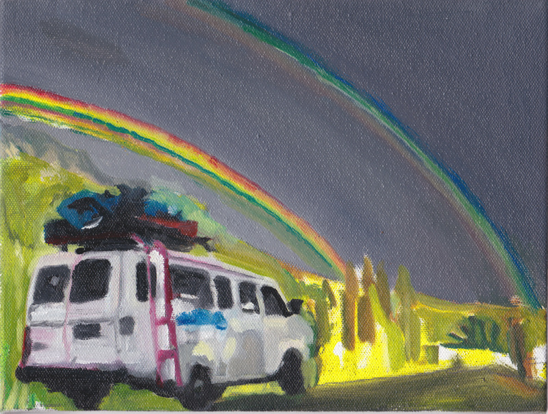 Expedition Van with double rainbow: painting
